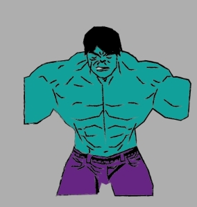 Hulk de frente coloreado